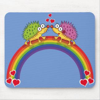 Lindos erizos enamorados. Erizo, Arcoiris. Mouse Pad