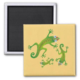 Lindos lagartos verdes, lizard square magnet