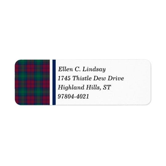 Lindsay Clan Maroon, Green, and Blue Tartan