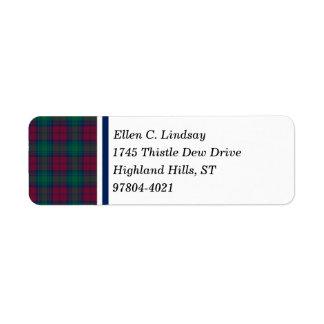 Lindsay Clan Maroon, Green, and Blue Tartan Return Address Label