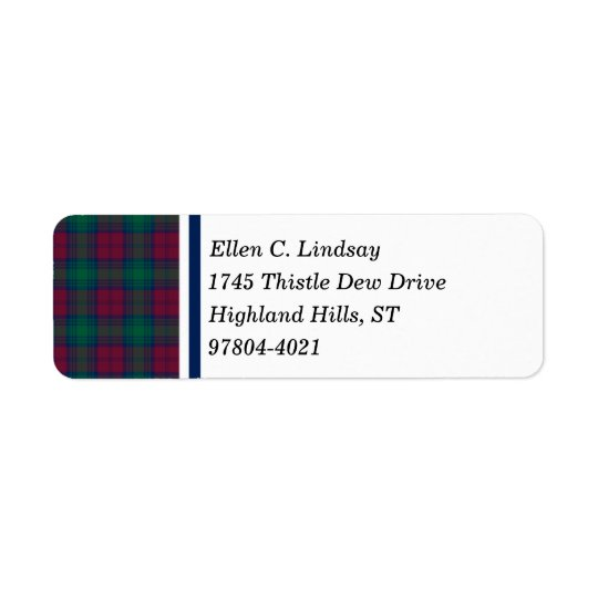 Lindsay Clan Maroon, Green, and Blue Tartan Return Address Label