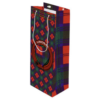 Lindsay clan Plaid Scottish tartan Wine Gift Bag