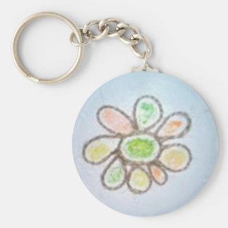 Lindsay Key Chain: original hand made flower Basic Round Button Key Ring