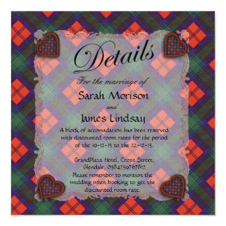 Lindsay Scottish clan tartan - Plaid 5.25x5.25 Square Paper Invitation Card