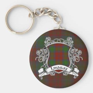 Lindsay Tartan Shield Basic Round Button Key Ring