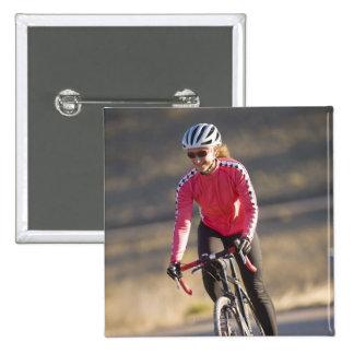 Lindsey Bishop road biking, Boulder, Colorado. 15 Cm Square Badge