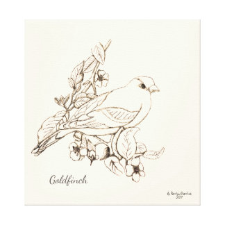 Line Art Black on White Drawing Goldfinch Canvas Print