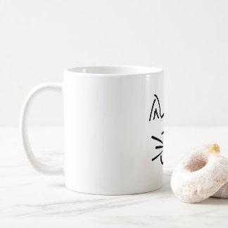 line art cat face mug
