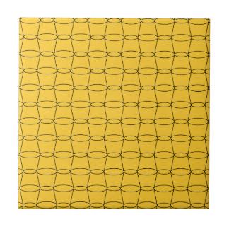 Line Art - CUPS - Black on Yellow Small Square Tile
