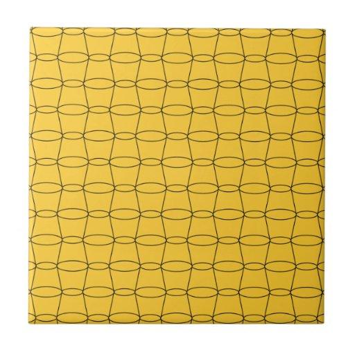 Line Art - CUPS - Black on Yellow Tile
