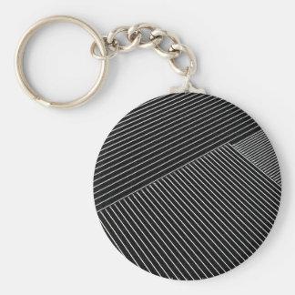 Line art - geometric illusion, abstract stripes bw basic round button key ring