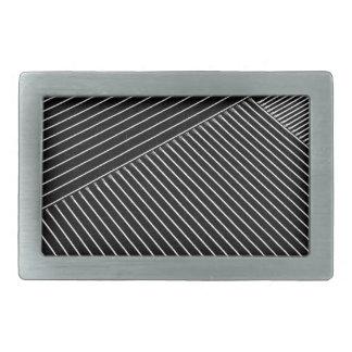 Line art - geometric illusion, abstract stripes bw belt buckle
