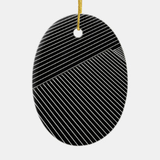 Line art - geometric illusion, abstract stripes bw ceramic oval decoration