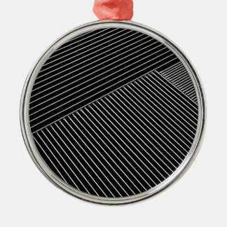 Line art - geometric illusion, abstract stripes bw christmas ornament