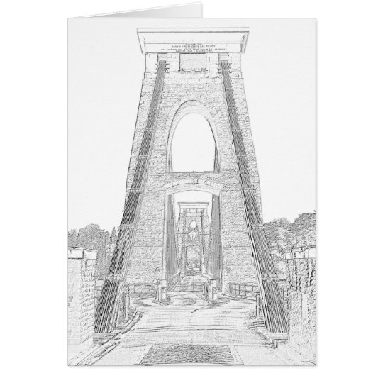 Line Art of Clifton Suspension Bridge, Bristol. Card