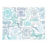 Line art phones pattern postcard