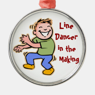 Line Dancer in the Making! (Boy) Silver-Colored Round Decoration