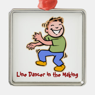 Line Dancer in the Making! (Boy) Silver-Colored Square Decoration