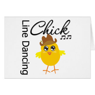 Line Dancing Chick Greeting Cards