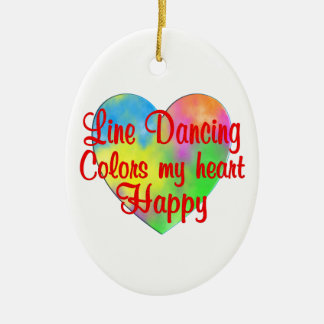Line Dancing Colors My Heart Happy Ceramic Oval Decoration