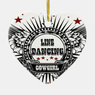 Line dancing cowgirl with red stars ceramic heart decoration