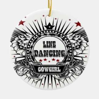Line dancing cowgirl with red stars round ceramic decoration