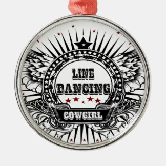 Line dancing cowgirl with red stars Silver-Colored round decoration
