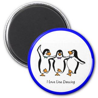 Line Dancing: Dancing penguins 6 Cm Round Magnet
