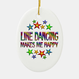 Line Dancing Happy Ceramic Oval Decoration