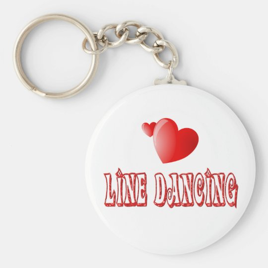 Line Dancing Hearts Basic Round Button Key Ring