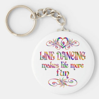 Line Dancing More Fun Basic Round Button Key Ring