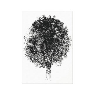 Line Drawing Bouquet Black and White Art Canvas Print