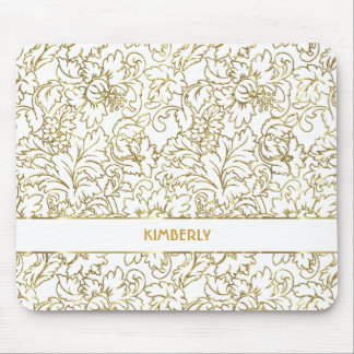 Line Drawing Gold Floral Damasks White Background Mouse Mat