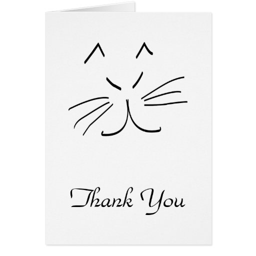 Line Art Thank You : Line drawing of a cat thank you card zazzle