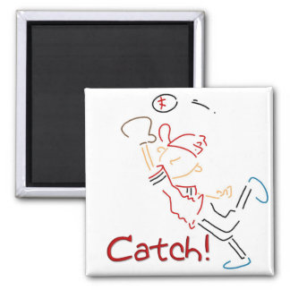 Line Drawn Baseball Catch Square Magnet