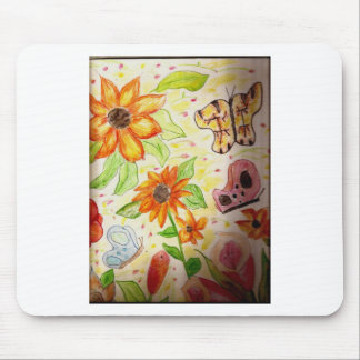 Line flowers and butterflies mousepads