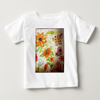 Line flowers and butterflies t-shirts