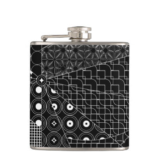 Line Geometric white pattern on Black Hip Flask