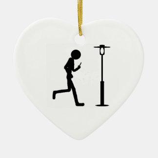 Line man runs in lantern ceramic heart decoration