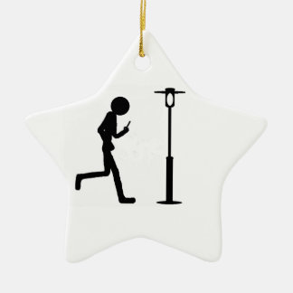 Line man runs in lantern ceramic star decoration