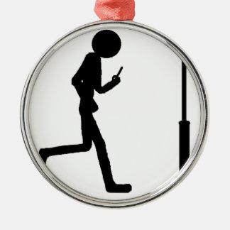 Line man runs in lantern Silver-Colored round decoration