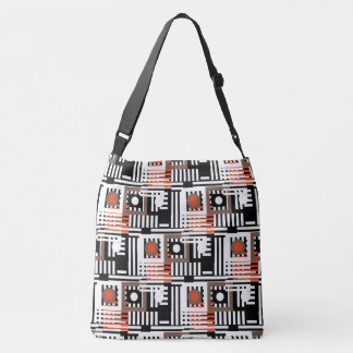 line mix round pattern large crossbody bag
