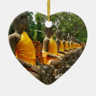 Line of Buddhas Ceramic Heart Decoration
