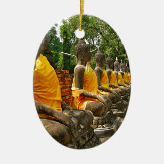 Line of Buddhas Ceramic Oval Decoration