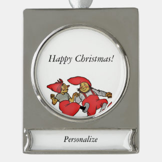 Line of Dancing Gnomes Silver Plated Banner Ornament