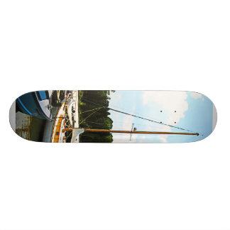 Line of Docked Boats Skate Board Decks