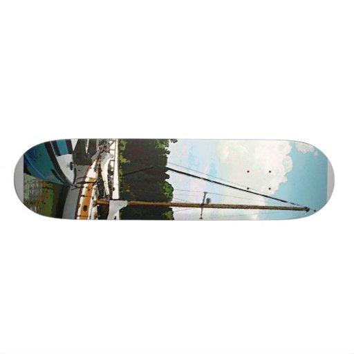 Line of Docked Boats Custom Skate Board
