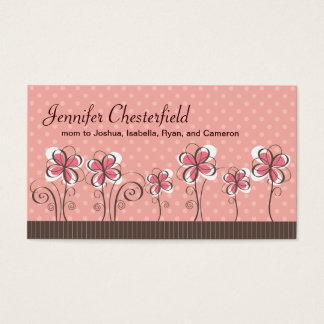 Line of Flowers Pink and Brown Mommy Business Card