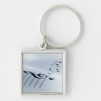 Line of Music Silver-Colored Square Key Ring