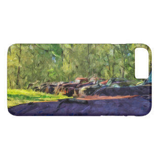 Line of Rusty Old Cars and Trucks Abstract iPhone 7 Plus Case